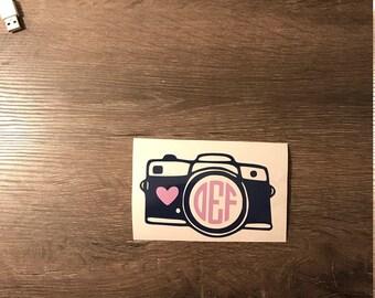 Cute Camera with Heart Monogram Vinyl Decal, Yeti Decal, Vinyl Name, Car decal, Lap top Decal, Phone Sticker