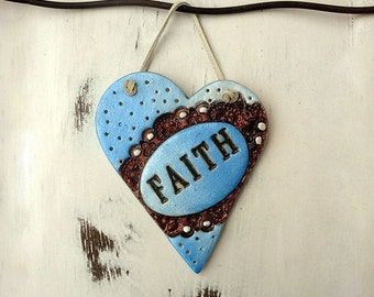 Shabby Heart Wall Hanging, Ceramic Wall Heart, Handmade Pottery Blue Hope Plaque Heart Wall Hanging, Gift for a Friend, Ready to Ship.