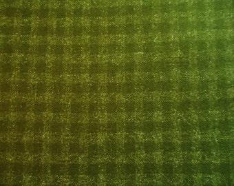 Vintage Green Wool Plaid Fabric