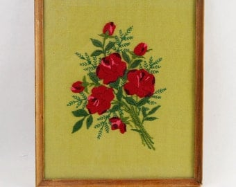 Vtg Embroidered Red Roses Bouquet Wood Framed Wall Art