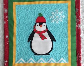 Christmas Mug Rug - Placemat - Penguin - Blue - Red
