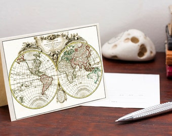 Printable Vintage World Map Greeting Card Map of the world card Printable Digital File Instant Download Birthday Card PDF Download File
