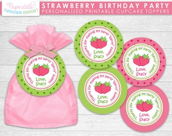 Strawberry Theme Birthday Party Favor Tags | Pink & Green | Personalized | Printable DIY Digital File