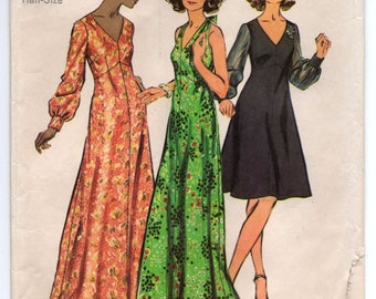 "1970's Simplicity One-Piece Maxi Halter Dress or Maxi Dress with Long Sleeves Pattern - Bust 41"" - no. 5432"