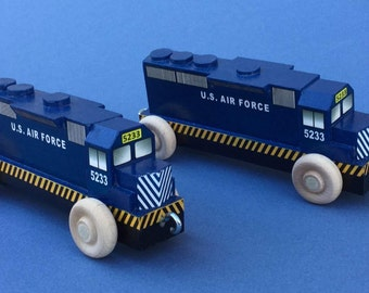 Wooden Toy Diesel Locomotive, USAF. United States Air Force.