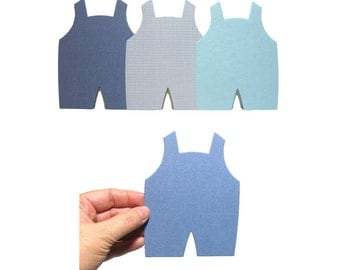 20 Blue Overalls Die Cuts - Baby Boy Card-Making Supplies - Cute Blue Jumpers - Die-cuts for Papercrafting & Scrapbooking - Blue Boy Mix