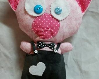 Cute Pig PLUSHIE plush Toy Handmade OOAK Piglet Stuffed Wonderland Animal