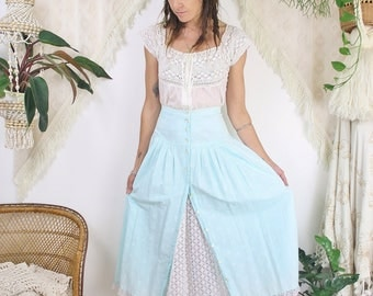 70s Peasant skirt, Aqua broderie anglaise Midi skirt, Floral Lace High waist Button up skirt, XS 3119