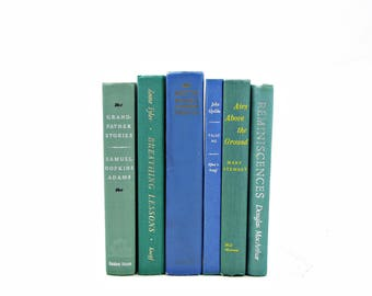 Mint Green BOoks, BLue Decorative Books, Wedding Centerpiece, Old Book Set, Vintage Book Decor, Antique BOok Collection,  country chic