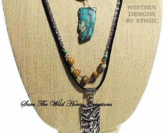 Western Style 3-Strand Leather Necklace. Black Leather Suede, Variegated Turquoise, Picture Jasper & Silver Longhorn Pendant. FREE US Shipng