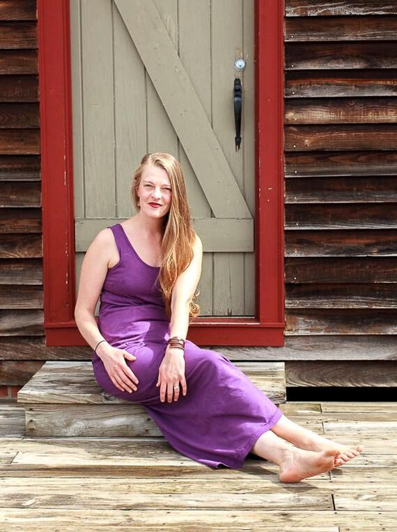 Porch Side Sundress, Long Maxi Organic Cotton Jersey Dress, Long Tank Eco Friendly Summer Dress