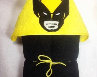 Wolverine Hooded Bath Towel, Hooded Kids Towel, Wolverine, Superhero, Birthday Gift, Kids Towel, Personalized Towel, Personalized Gift