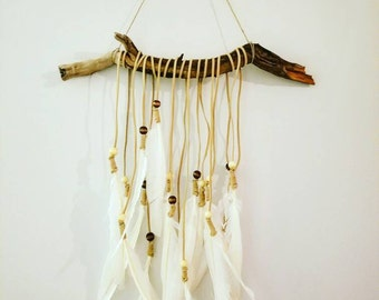 Unique feather driftwood wall hanging art