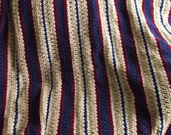 Large Striped Crochet Afghan in Red Blue & Tan - Throw Blanket