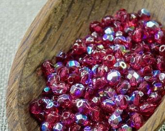 50 Czech Fire Polished 4mm Fuchsia Glass Beads Hot Pink Magenta Czech beads 4mm glass beads last