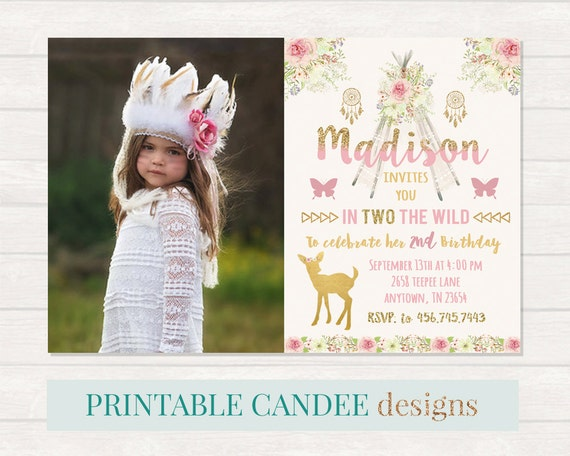 Teepee Birthday Invitation Deer Party Arrow invite Wild 2nd – 2 Year Old Birthday Invites