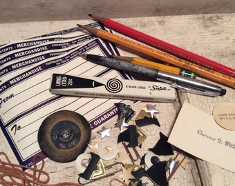 Office Supplies, Postal Labels, Dennison Labels, Desk Supplies, Props, Industrial, Ephemera, Old Paper, Old School, All Vintage Man