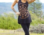 Sri Yantra Festival Tunic, Yoga Top, Festival Clothing, Festival Shirt, Open Back, Sacred Geometry, Black and Gold, Sexy Top, Tie Top