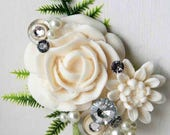 Alternative mens buttonhole, Wedding corsage, artificial flowers. Grooms boutonniere, wedding corsage