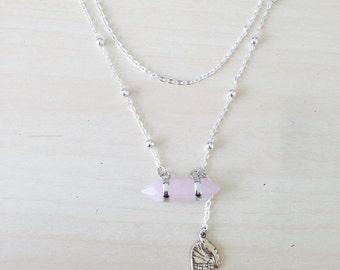 Rose Quartz Palm Necklace