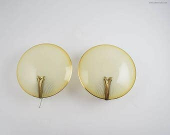 Pair of French art deco sconces, glass wall lamps from the art deco period