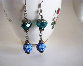 Hawaiian 2 Blue Glass  Earrings