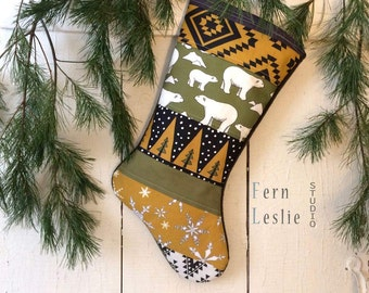 Polar Bear Stocking, Caramel, Sage,  Christmas Stocking, Personalized, Quilted, Woodland, Arctic, Mustard, Modern, Handmade, Holiday Decor