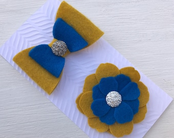 Mustard and royal blue hair clips~Hair clips set~Prop~Photo prop~Photography prop~Bow~Wool felt bow~Toddler~Gift~Baby girl~Woof felt flower