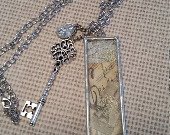 Steampunk, Charm Jewelry, Key Jewelry, Glass Framed Picture with Key and Crystal Charms Necklace with Antique Silver Chain Jewelry