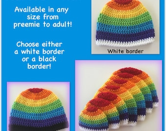 Rainbow hat - any size, adult, baby newborn, child, toddler, 0-3 months, 3-6 months, adult hat, gay pride, white, black