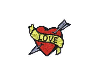 Tattoo Art Love Heart Arrow Embroidered Iron On Patch FD