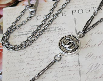 Designer Button Necklace, long Chain Necklace silver with Authentic Designer Button, Beautiful Gifts Birthday, Button Jewelry veryDonna