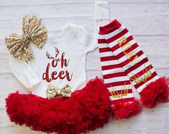 Baby's Christmas Outfit..Oh Deer Bodysuit Personalized Leg Warmers Headband Set...Baby's First Christmas Outfit