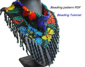 Necklace - kerchief with flowers. Beading Tutorial. Beading pattern PDF. Instant download.