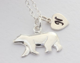 Sterling Silver Polar Bear necklace with initial or select charm, Silver Polar Bear necklace, Polar bear Jewelry. choose Italian chain