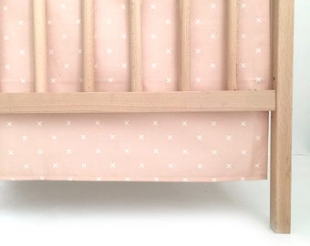 Crib Skirt Blush X. Baby Bedding. Crib Bedding. Crib Skirt Girl. Baby Girl Nursery. Blush Crib Skirt.