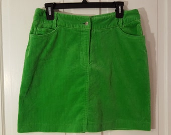 Bright GREEN CORDUROY SKIRT // 90's Stretch Skirt Size 8 St. Patty's Day