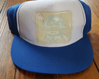 PBR BEER HAT // 80's Pabst Blue Ribbon Blue White Trucker Hat Baseball One Size Fits All Vintage Drinking College Royal Blue