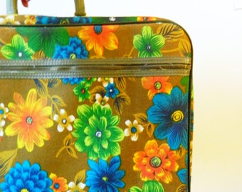 Bright Vintage Floral Suitcase / Bantam Retro Mod Floral Luggage / Hawaiian Floral Suitcase