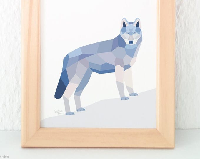 Wolf print, Geometric wolf print, Grey wolf illustration, Animal lover gift, Forest creatures, Woodland creatures wall art, Wildlife art,