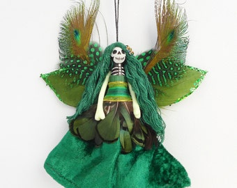Christmas Ornament, tree ornament, Day of the Dead fairy peg doll decoration, OOAK