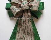 Saint Patrick Scripts Wreath Bow Emerald St. Patrick's Burlap Wreath Bow Emerald Lime Irish Shamrock Bow St Patrick door hanger bow