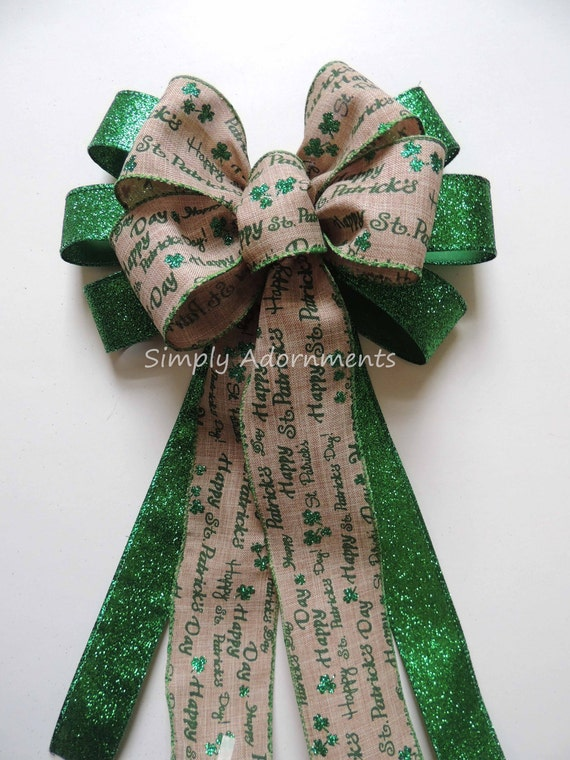Saint Patrick Scripts Wreath Bow Emerald St. Patrick's Burlap Wreath Bow Emerald Lime Irish Shamrock Bow St Patrick door hanger bow