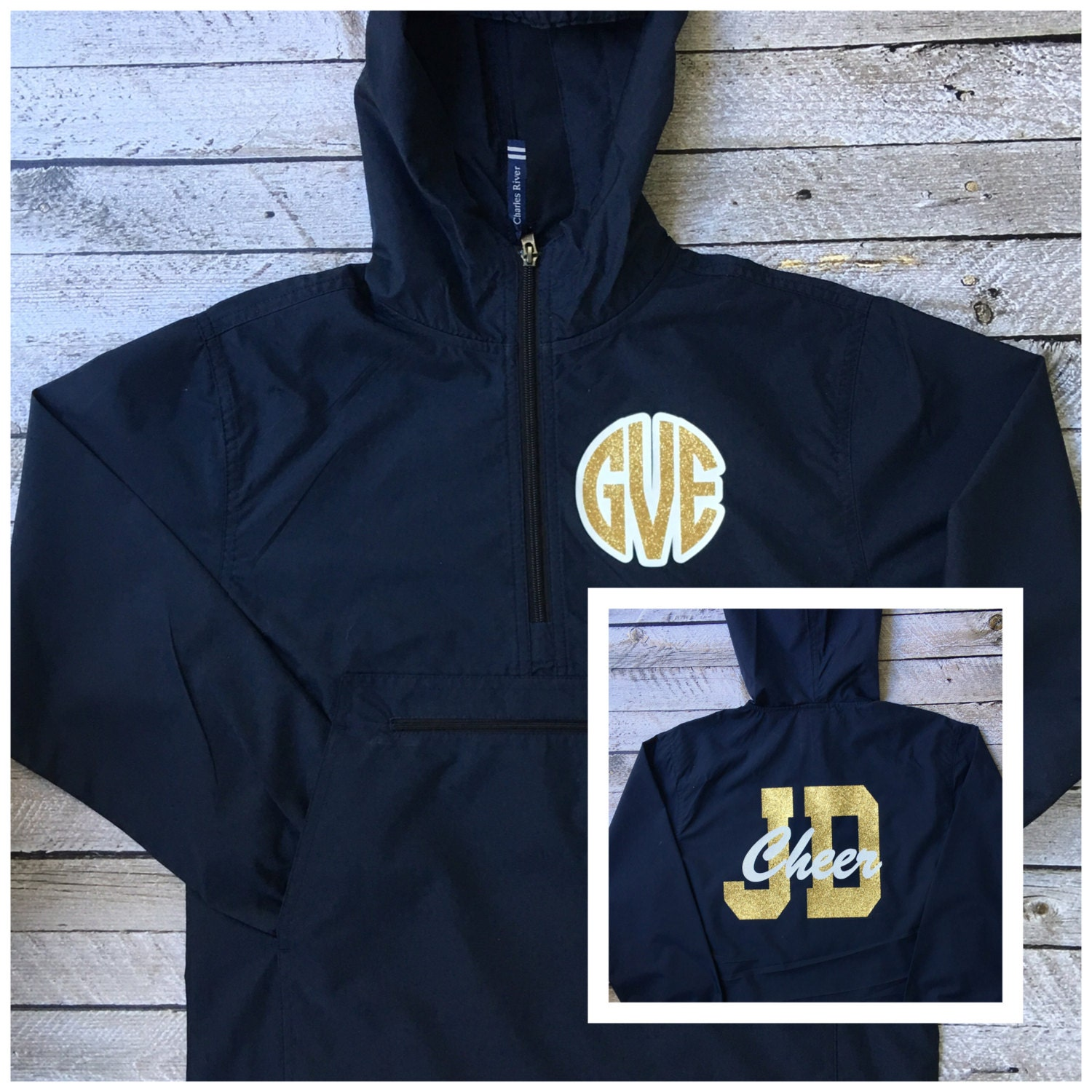 monogrammed jackets  cheer jacket  custom anorak jacket  pullover rain jacket  cheer team