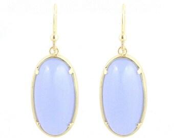 Shimmer oval earrings, earrings, white blue and gold small earrings, lightweight earrings, dangle earrings, Opalite Earrings, Iridescent