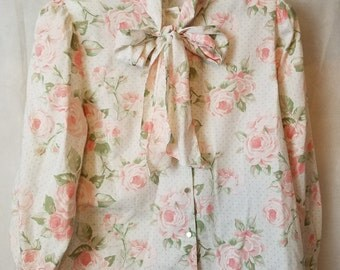 XL Extra Large Vintage 80s Pastel Faded Rose Floral Print Pussy Bow Romantic Semi-Sheer Secretary Office Long Sleeve Blouse Shirt Top