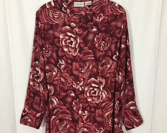 Plus Size Red Floral Print Button Up Blouse // Size 22