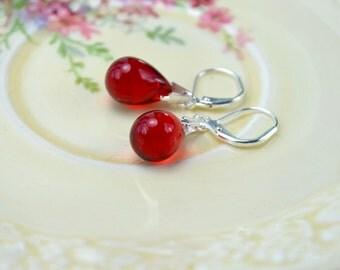 Red Earrings, Ruby Red Dangle Earrings, Tear Drop Earrings, Silver Leverback Earrings, Ruby Anniversary, Red Drop Earrings Etsy UK Jewellery