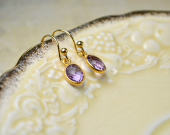 Amethyst Gold Earrings, Purple Gemstone Earrings, February Birthstone Earrings, Drop Earrings, Amethyst Jewelry, Birthstone Gifts for Mum