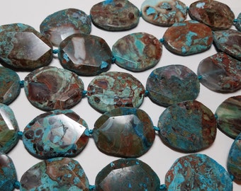 Turquoise Opal Rust Brown Color Boulder Type Geometric Faceted Pendant Beads 48mm to 51mm